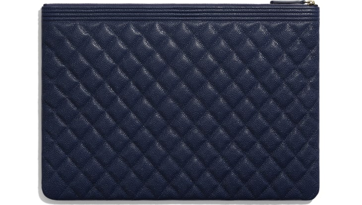 image 2 - BOY CHANEL Large Pouch - Grained Shiny Calfskin & Gold-Tone Metal - Navy Blue