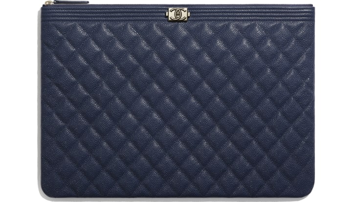 image 1 - BOY CHANEL Large Pouch - Grained Shiny Calfskin & Gold-Tone Metal - Navy Blue