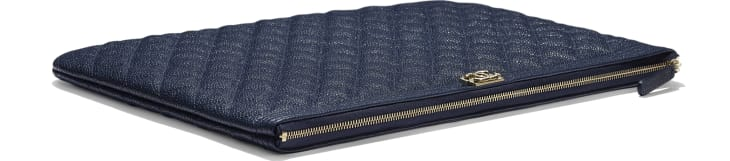image 4 - BOY CHANEL Large Pouch - Grained Shiny Calfskin & Gold-Tone Metal - Navy Blue