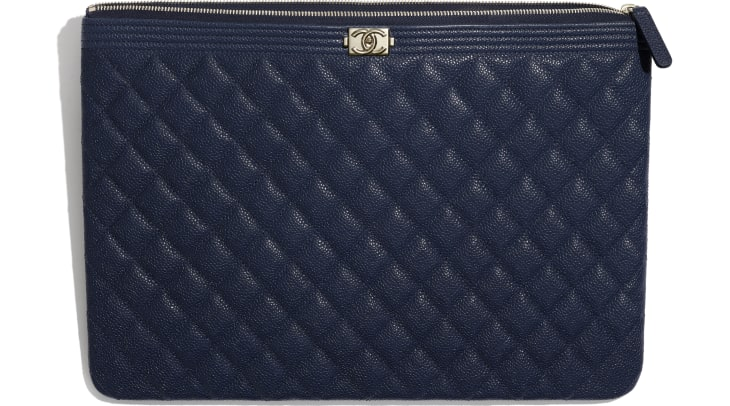 image 3 - BOY CHANEL Large Pouch - Grained Shiny Calfskin & Gold-Tone Metal - Navy Blue