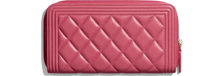 image 2 - BOY CHANEL Long Zipped Wallet - Lambskin & Gold-Tone Metal - Pink