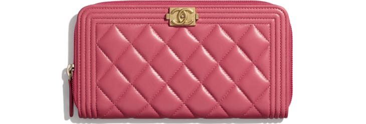 image 1 - BOY CHANEL Long Zipped Wallet - Lambskin & Gold-Tone Metal - Pink