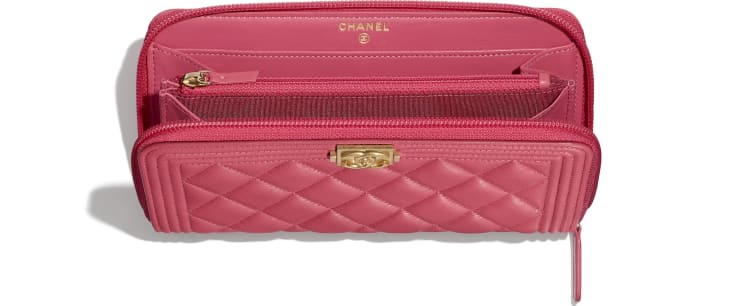 image 3 - BOY CHANEL Long Zipped Wallet - Lambskin & Gold-Tone Metal - Pink