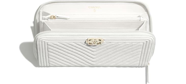image 3 - BOY CHANEL Long Zipped Wallet - Grained Calfskin & Gold-Tone Metal - White