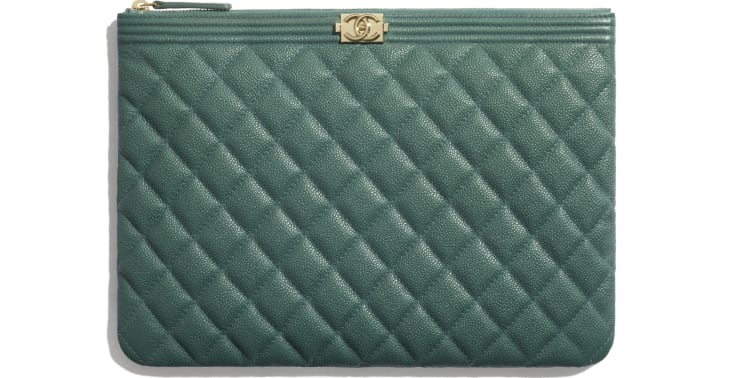 image 1 - BOY CHANEL Pouch - Grained Calfskin & Gold-Tone Metal - Green