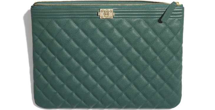 image 2 - BOY CHANEL Pouch - Grained Calfskin & Gold-Tone Metal - Green