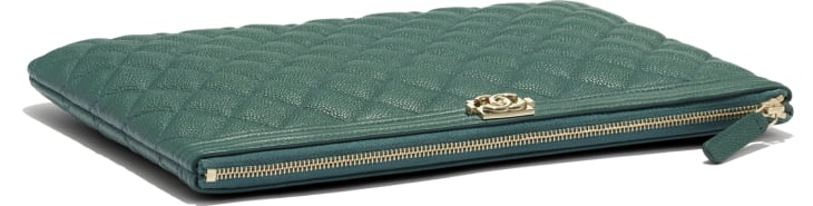 image 3 - BOY CHANEL Pouch - Grained Calfskin & Gold-Tone Metal - Green