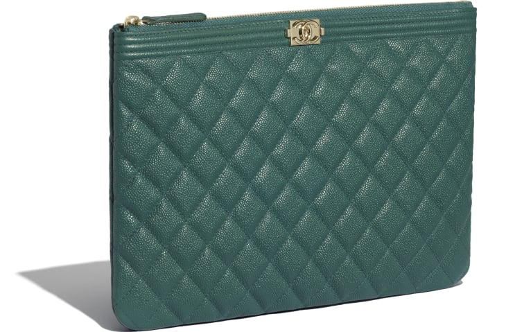 image 4 - BOY CHANEL Pouch - Grained Calfskin & Gold-Tone Metal - Green