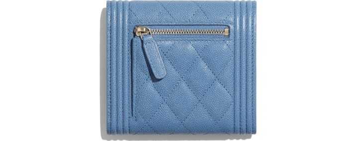 image 2 - BOY CHANEL Small Flap Wallet - Grained Calfskin & Gold-Tone Metal - Blue
