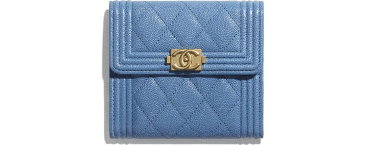 image 1 - BOY CHANEL Small Flap Wallet - Grained Calfskin & Gold-Tone Metal - Blue