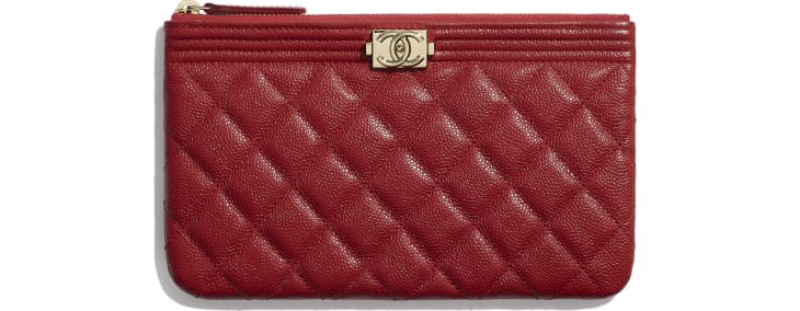 image 1 - BOY CHANEL Small Pouch - Grained Calfskin & Gold-Tone Metal - Red