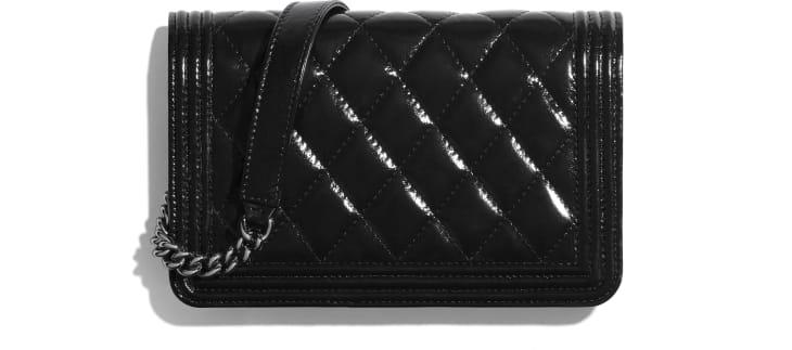 image 2 - BOY CHANEL Wallet on Chain - Aged Calfskin & Ruthenium-Finish Metal - Black