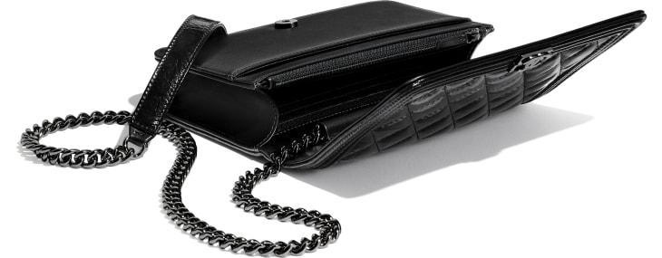 image 4 - BOY CHANEL Wallet on Chain - Aged Calfskin & Ruthenium-Finish Metal - Black