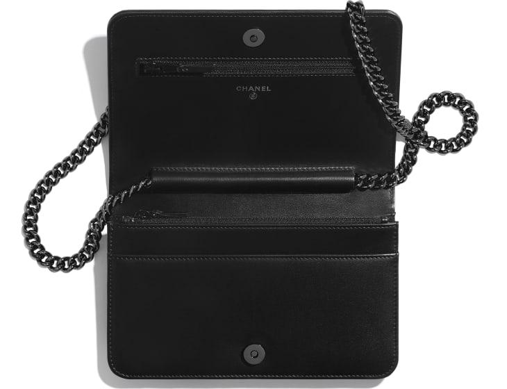 image 3 - BOY CHANEL Wallet on Chain - Aged Calfskin & Ruthenium-Finish Metal - Black