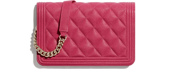 image 2 - BOY CHANEL Wallet on Chain - Grained Calfskin & Gold-Tone Metal - Pink