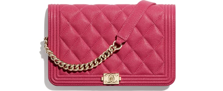 image 1 - BOY CHANEL Wallet on Chain - Grained Calfskin & Gold-Tone Metal - Pink