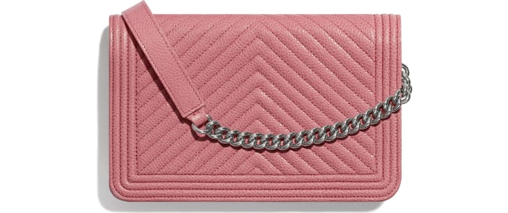 image 2 - BOY CHANEL Wallet on Chain - Shiny Grained Calfskin & Silver-Tone Metal - Pink