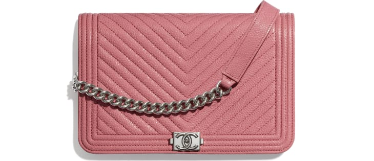 image 1 - BOY CHANEL Wallet on Chain - Shiny Grained Calfskin & Silver-Tone Metal - Pink