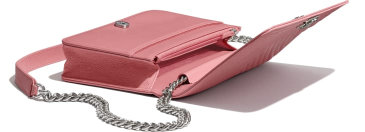 image 4 - BOY CHANEL Wallet on Chain - Shiny Grained Calfskin & Silver-Tone Metal - Pink