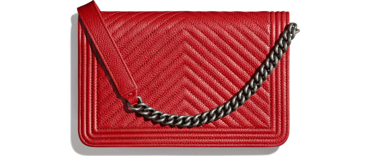 image 2 - BOY CHANEL Wallet on Chain - Grained Calfskin & Ruthenium-Finish Metal - Red