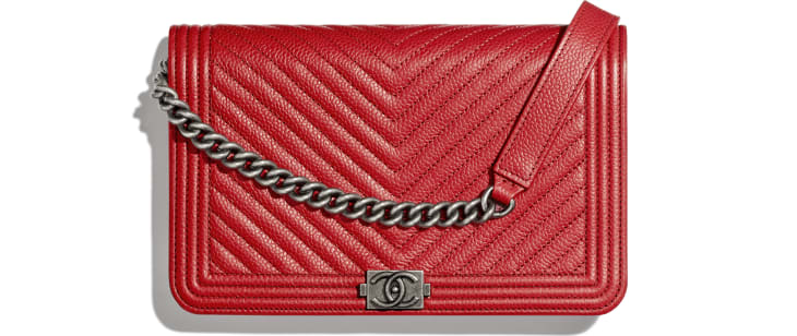 image 1 - BOY CHANEL Wallet on Chain - Grained Calfskin & Ruthenium-Finish Metal - Red