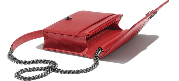 image 4 - BOY CHANEL Wallet on Chain - Grained Calfskin & Ruthenium-Finish Metal - Red