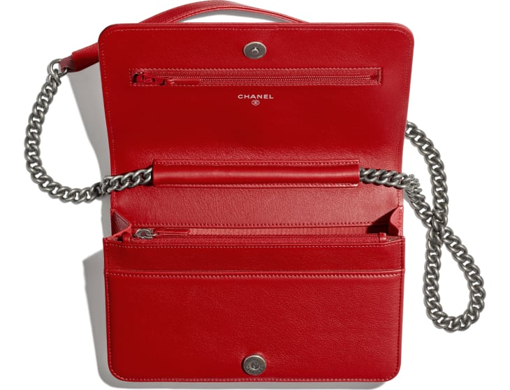 image 3 - BOY CHANEL Wallet on Chain - Grained Calfskin & Ruthenium-Finish Metal - Red