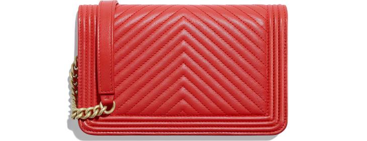 image 2 - Wallet on chain BOY CHANEL - Agneau & métal doré - Rouge