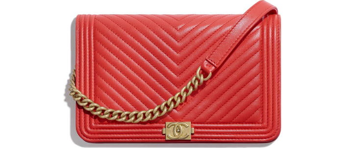 image 1 - Wallet on chain BOY CHANEL - Agneau & métal doré - Rouge