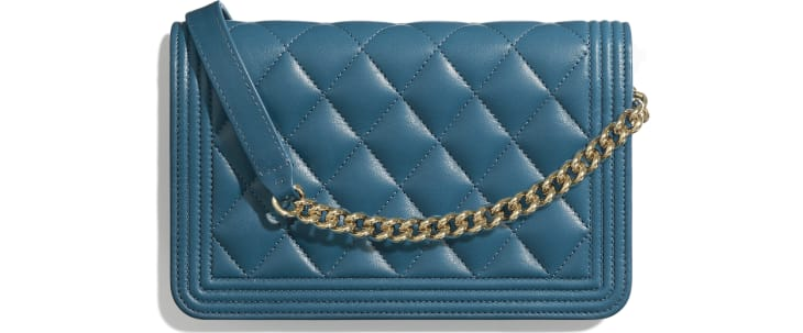 image 2 - BOY CHANEL Wallet on Chain - Lambskin & Gold-Tone Metal - Turquoise