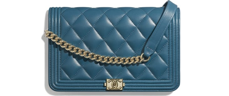 image 1 - BOY CHANEL Wallet on Chain - Lambskin & Gold-Tone Metal - Turquoise