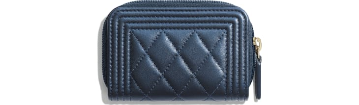 image 2 - BOY CHANEL Zipped Coin Purse - Metallic Lambskin & Gold-Tone Metal - Navy Blue
