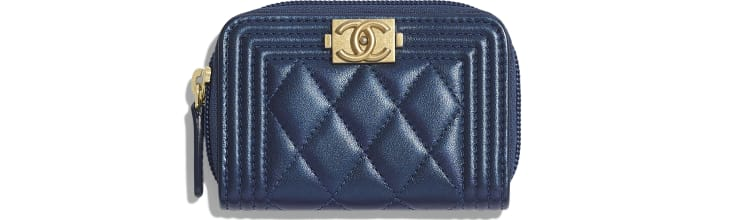 image 1 - BOY CHANEL Zipped Coin Purse - Metallic Lambskin & Gold-Tone Metal - Navy Blue