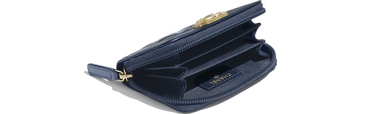 image 4 - BOY CHANEL Zipped Coin Purse - Metallic Lambskin & Gold-Tone Metal - Navy Blue