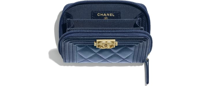 image 3 - BOY CHANEL Zipped Coin Purse - Metallic Lambskin & Gold-Tone Metal - Navy Blue