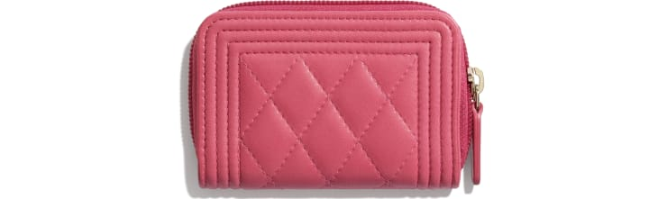 image 2 - BOY CHANEL Zipped Coin Purse - Lambskin & Gold-Tone Metal - Pink