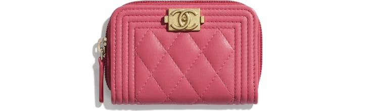 image 1 - BOY CHANEL Zipped Coin Purse - Lambskin & Gold-Tone Metal - Pink
