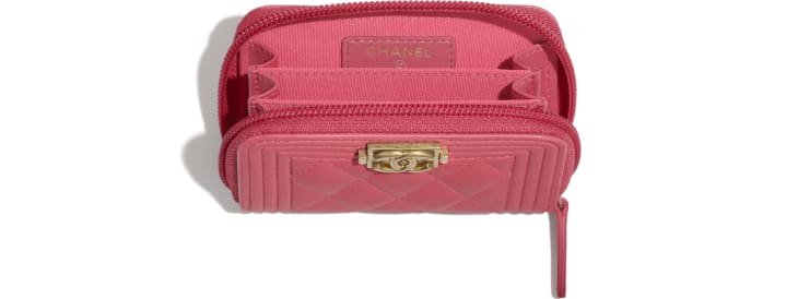 image 3 - BOY CHANEL Zipped Coin Purse - Lambskin & Gold-Tone Metal - Pink