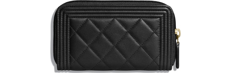 image 2 - BOY CHANEL Zipped Wallet - Lambskin & Gold-Tone Metal - Black