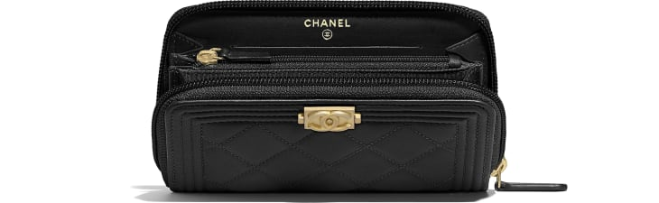 image 3 - BOY CHANEL Zipped Wallet - Lambskin & Gold-Tone Metal - Black