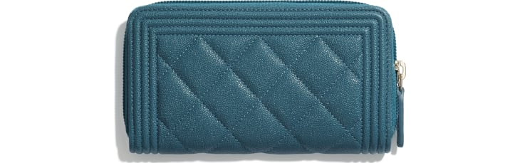 image 2 - BOY CHANEL Zipped Wallet - Grained Calfskin & Gold-Tone Metal - Turquoise