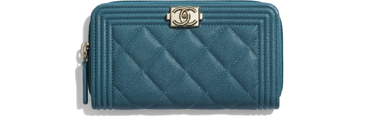 image 1 - BOY CHANEL Zipped Wallet - Grained Calfskin & Gold-Tone Metal - Turquoise