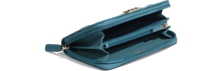 image 4 - BOY CHANEL Zipped Wallet - Grained Calfskin & Gold-Tone Metal - Turquoise