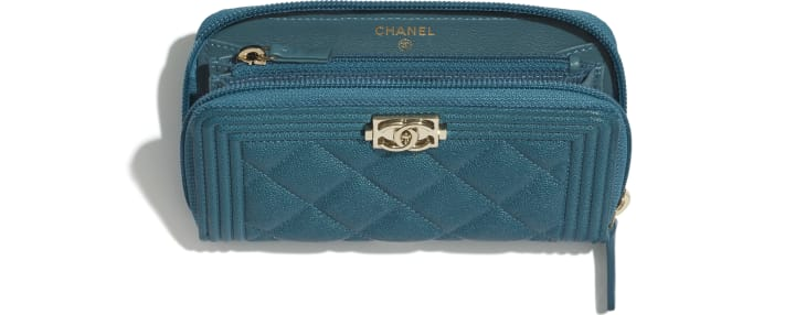 image 3 - BOY CHANEL Zipped Wallet - Grained Calfskin & Gold-Tone Metal - Turquoise