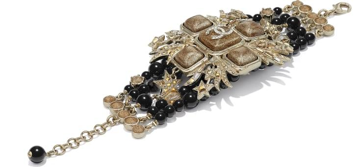 image 2 - Bracelete - Metal, Pérolas de Vidro, Vidro & Strass - Dourado, Preto & Cristal