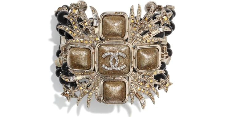 image 1 - Bracelet - Metal, Glass Pearls, Glass & Strass - Gold, Black & Crystal
