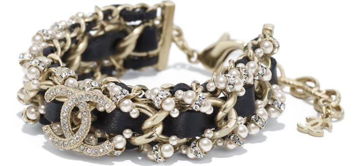 image 2 - Bracelet - Metal, Calfskin, Glass Pearls & Strass - Gold, Black, Pearly White & Crystal