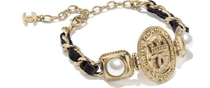 image 2 - Bracelet - Metal, Calfskin, Imitation Pearls & Strass - Gold, Black, Pearly White & Crystal