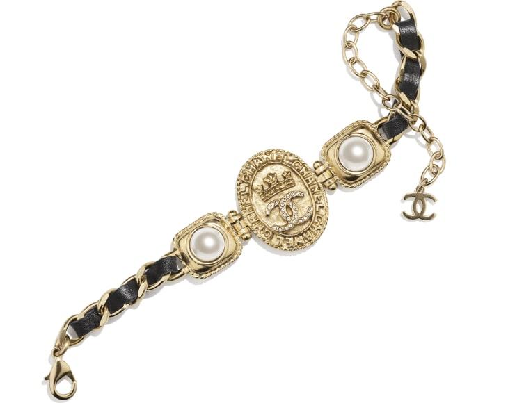image 1 - Bracelet - Metal, Calfskin, Imitation Pearls & Strass - Gold, Black, Pearly White & Crystal
