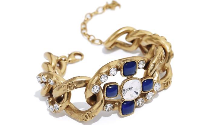 image 2 - Bracelet - Metal, Glass & Strass - Gold, Blue & Crystal